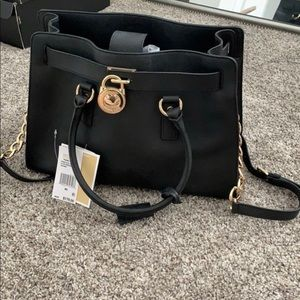 Black Michael Kors Tote Bag w gold accents